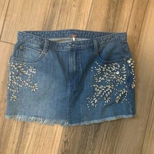 Free people diamond denim embellished skirt